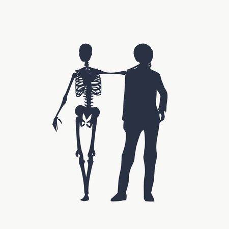 Woman and skeleton standing and hugging. Halloween party design template. Friends embrace Ilustração Vetorial