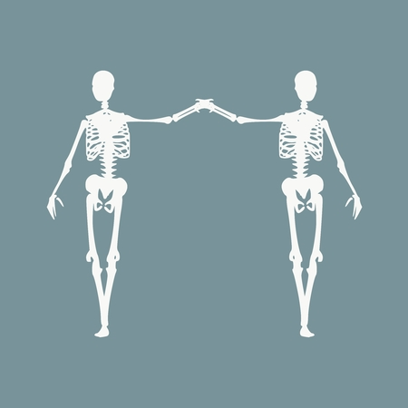 Human skeleton standing and hugging. Halloween party design template. Friends embrace Ilustração
