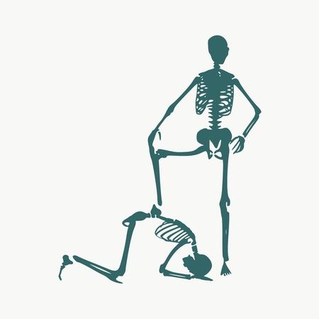 Illustrazione del concetto di obbedienza. Uomo prostrato sotto il piede femminile. Sagome di due scheletri Vettoriali