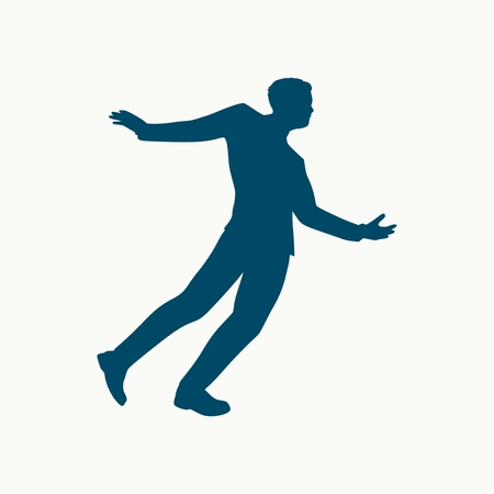 Drunkard young businessman walking. Social problem concept Иллюстрация