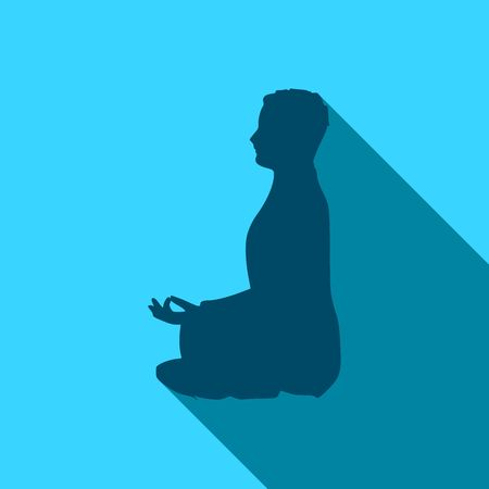 Businessman sit in meditation pose. Cutout silhouette. Web icon with long shadows