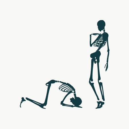 Concept illustration of a obedience. Man prostrated under female foot. Silhouettes of two skeletons 일러스트
