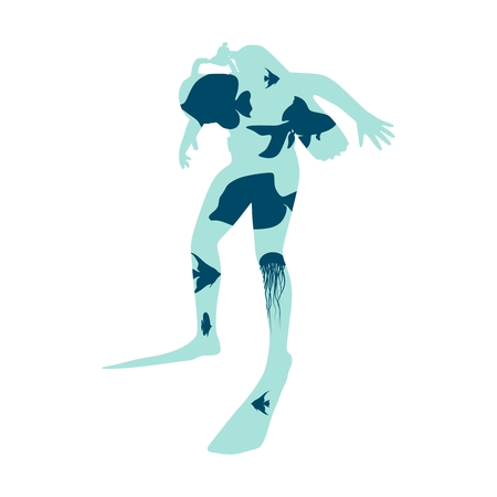 Silhouette of diver. Underwater world background. Marine life. Double exposure design