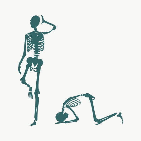 Ilustración del concepto de una obediencia. Hombre postrado debajo del pie femenino. Siluetas de dos esqueletos