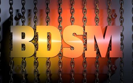 Acronym BDSM - Bondage, Dominance, Sadism amd Masochism. 3D rendering. Orange gradient light