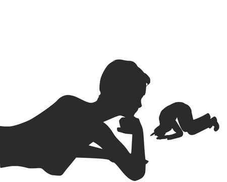 Silhouette of man in prayer pose. Man asking woman to marry him.
