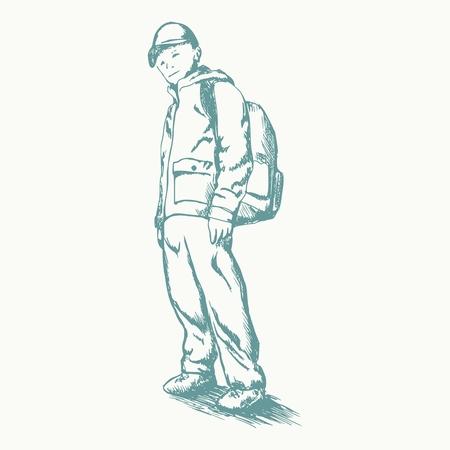 Colegial dibujado a mano con mochila. Dibujar a lápiz. Concepto de tema de regreso a la escuela