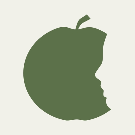 An apple with face profile view. Optical illusion. Human head make silhouette of fruit. Half eaten apple