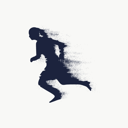 Running woman. Side view silhouette with trail of particles. Sport and recreation