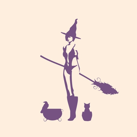 Illustration of standing young witch icon. Witch silhouette with a broomstick, cat and raven. Halloween relative image  イラスト・ベクター素材