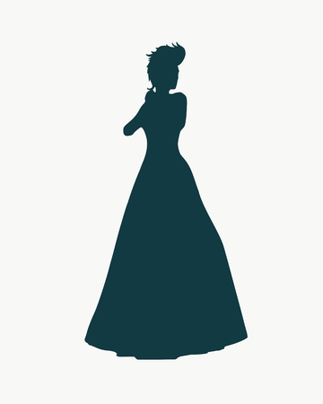 Sexy woman silhouette in evening dress. Queen or princess rise her hands to face. Mohawk hair style.