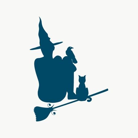 Illustratie van zittende jonge heks. Heksensilhouet met een bezemsteel, een kat en een raaf. Relatief beeld van Halloween