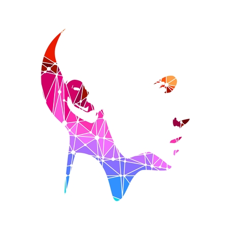 Portrait of a young woman. Polygonal mosaic silhouette of the human face
