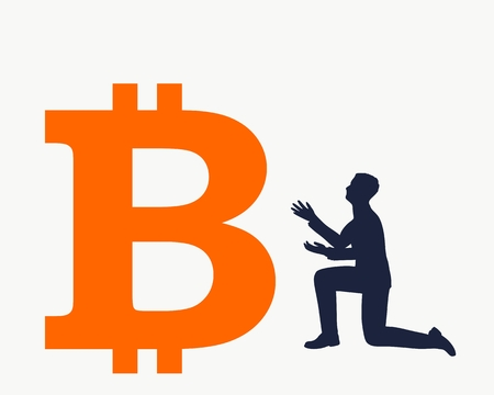 Silhouette of man in prayer pose. Man and symbol of bitcoin crypto currency.