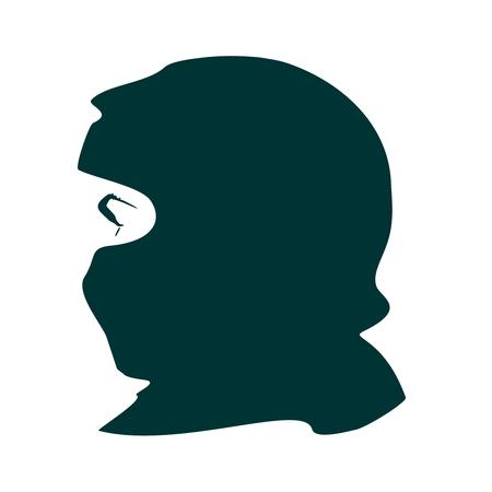 Vista de perfil de cara. Elegante silueta de una mujer musulmana con hijab Ilustración de vector