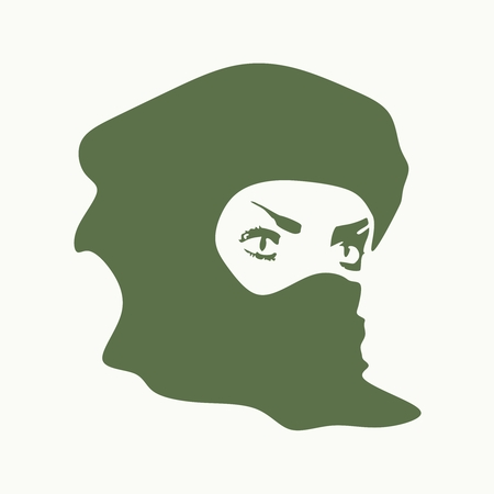 Face profile view. Elegant silhouette of a muslim woman with hijab