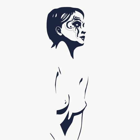 Naked young woman silhouette. Female torso sketch. Sugar skull face paint.