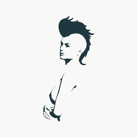 Naked young woman silhouette. Female torso sketch. Mohawk hair style Illustration