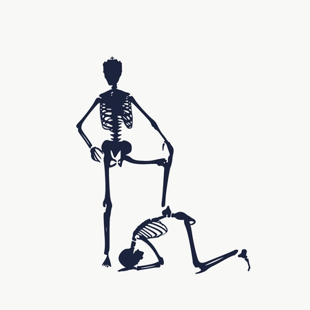 Concept illustration of a obedience. Man prostrated under female foot. Silhouettes of two skeletons. Skeleton wearing the crown