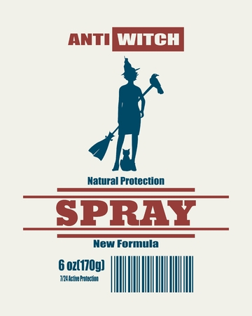 Illustration of anti witches spray label. Witch silhouette
