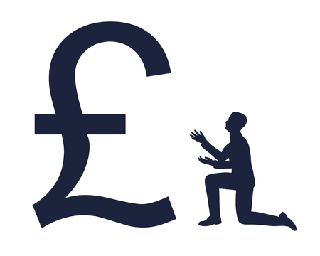 Silhouette of man in prayer pose. Man and symbol of pound currency Vecteurs