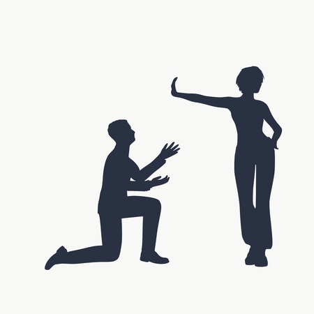 Silhouette of man in prayer pose. Man asking woman to marry or forgive him. A young woman holding her hand in front to show stop gesture