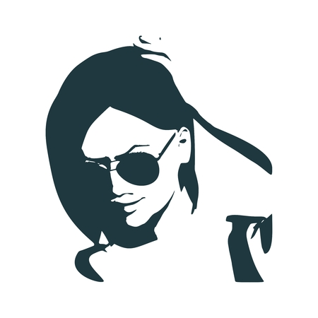 Portrait of beautiful woman in black sunglasses. Short hair.