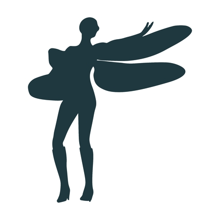 Young woman silhouette with wings of dragonfly
