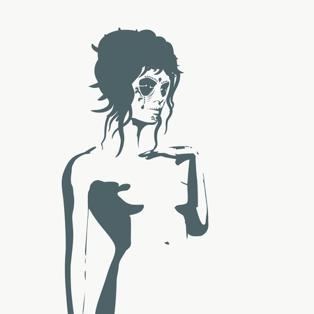 Naked young woman silhouette. Female torso sketch. Sugar skull face paint. Young lady raising her hand to head