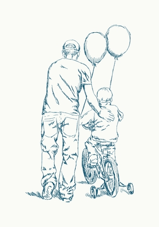 Father learn his little son to ride a bicycle. Ink sketch effect