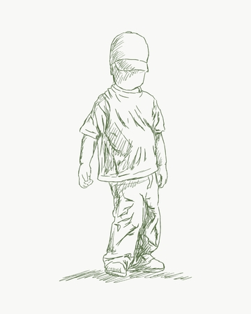 A cute little boy stand. Summer season. Hand drawn illustration