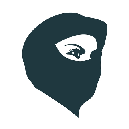 Face profile view. Elegant silhouette of a muslim woman with hijab Vetores