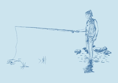 Young fishing woman on the river bank in the water resting on the nature. Hand drawn illustration