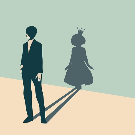 Young lady casting shadow of small girl wearing crown  イラスト・ベクター素材