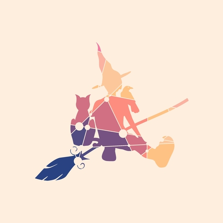Illustration of sitting young witch. Witch silhouette with a broomstick, cat and raven. Halloween relative image. Silhouette textured by lines and dots pattern