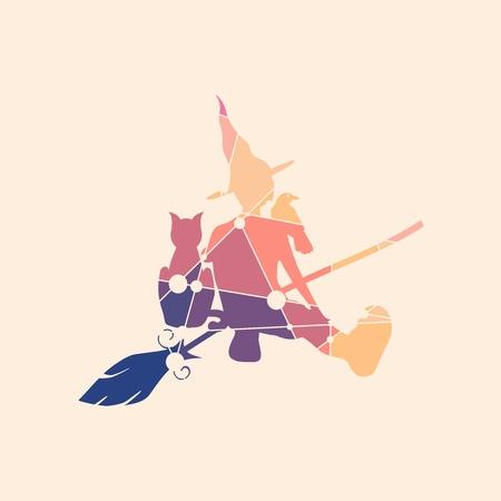 Illustratie van zittende jonge heks. Heksensilhouet met een bezemsteel, een kat en een raaf. Halloween relatief beeld. Silhouet geweven door lijnen en puntenpatroon