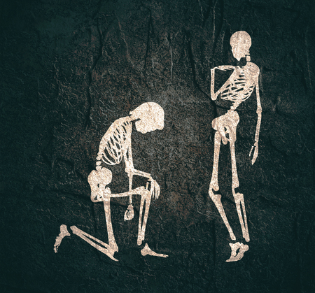 Man asking woman to marry him. Cartoon illustration. Silhouettes of two skeletons Foto de archivo - 108693238