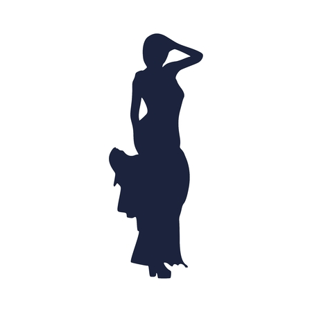 Sexy woman silhouette in evening dress. Lady rise her hand to head