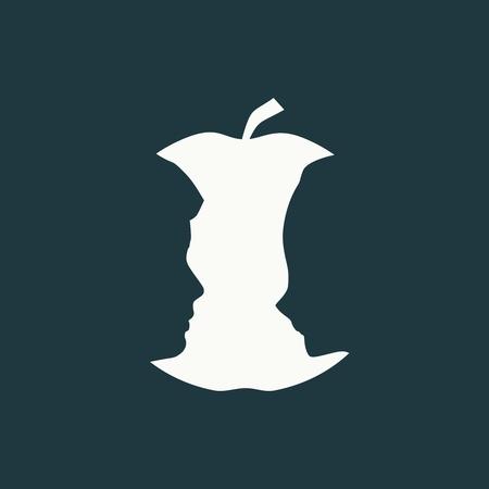 Une vue de profil de pomme ou de deux visages. Illusion d'optique. Tête humaine, faire, silhouette, de, fruit Vecteurs