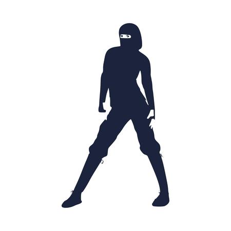 Ninja samurai warrior fighte. Martial art silhouette Illustration