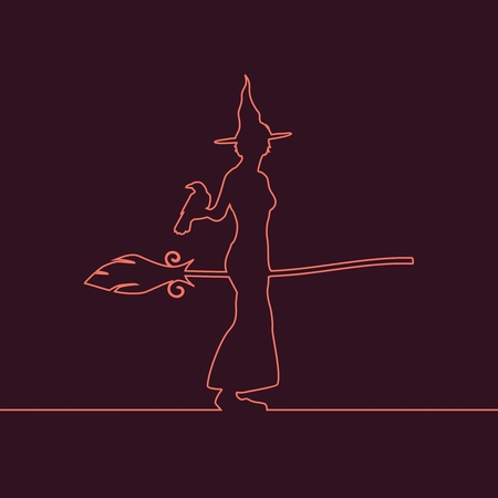 Outline illustration of standing young witch icon. Witch silhouette with a broomstick and raven. Halloween relative image
