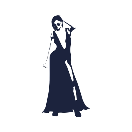 Sexy woman silhouette in evening dress. Young lady wearing sunglasses and rise her hand to head