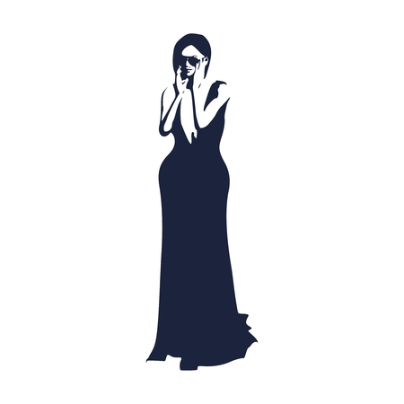 Sexy woman silhouette in evening dress. Young lady wearing sunglasses and rise her hands to face