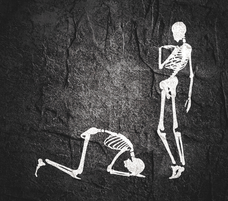 Concept illustration of a obedience. Man prostrated under female foot. Silhouettes of two skeletons