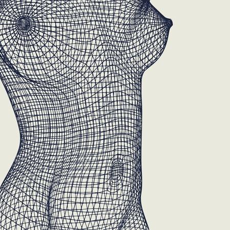 Pecho femenino poligonal. Diseño de estilo de marco de alambre.