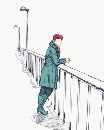 Fashion model in sketch style on bridge. Autumn season. Hand drawn illustration
