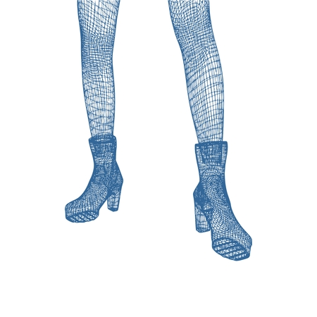 Polygonal woman legs. Wire frame style. Part of the human body. Illustration