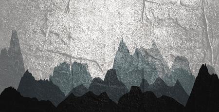 Mountain landscape. Mountain tops. Travel climbing or hiking concept Banco de Imagens