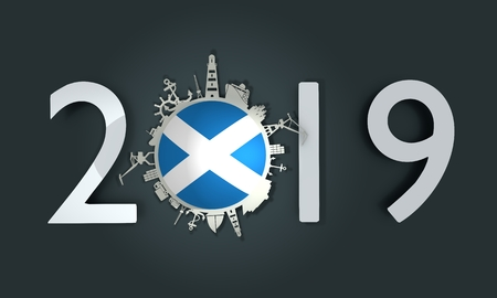 Circle with sea shipping and travel relative silhouettes. Objects located around the circle. Industrial design background. Scotland flag in the center. 2019 year number. 3D rendering