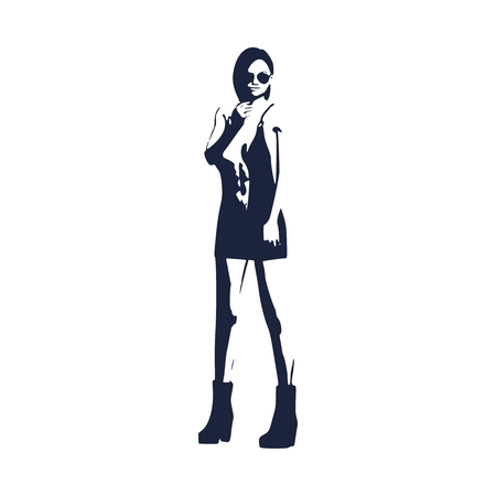 Sexy woman silhouette in short dress. Young lady wearing sunglasses and rise her hands to face